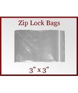 300 Zip Lock Top Recloseable Poly Seal Bags 3 x 3 FDA USDA Approved - $10.98