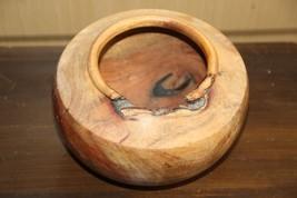 Old Vintage Primitive Signed Pablo 2002 Footed Wooden Bowl Hand Carved R... - $29.69