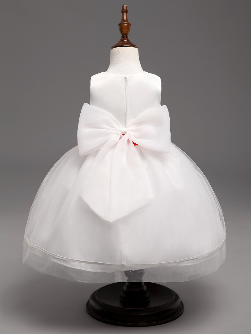 Beauty Red Belt Flower Girl Dresses Pricess Party Kids Gowns Ball Gown Pageant