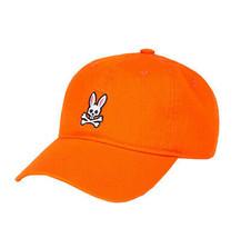Psycho Bunny Men's Cotton Embroidered Fiesta Orange Baseball Cap Strapback Hat image 2