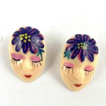 Vintage Purple Flower Face Plastic Pierced Earrings Fun Whimsical - $10.77