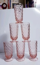 "Set of 6 Indiana Colony Glass Peach Pink Whitehall 6"" Iced Tea Glasses T... - $47.52"