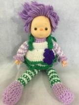 Vtg 80s Ice Cream Face Baby Doll Hand Crochet Dress Purple Yarn Hair Plu... - $19.95
