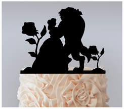 Wedding Cake topper,Cupcake topper,silhouette beauty and the beast : 11 pcs - $20.00