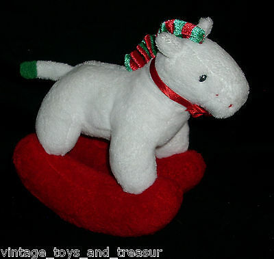 2006 TY PLUFFIES PRETTY PONY CHRISTMAS ROCKING HORSE STUFFED ANIMAL PLUSH TOY