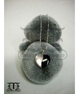 "Black Enamel on Abalone Shell Heart on 16"" Chain - $17.98"