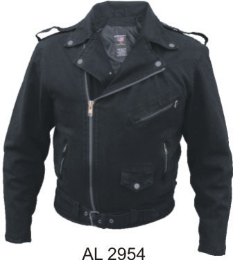 Mens Motorcycle Biker Denim Leather Style Jacket S-5X Allstate Leather