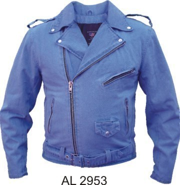 Men's Motorcycle Biker Blue Denim Leather Style Jacket Allstate Leather