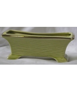 Vintage Planter Window Box Lime Green with Gold Trim/Gilt  - $40.00