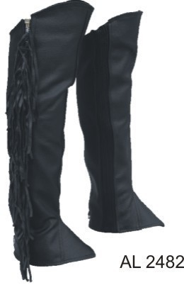 Leather Fringed Half Motorcycle Chaps Leggings Solid Leather S - 2X Allstate Leather
