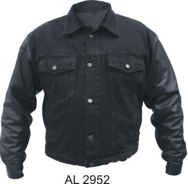Mens Denim and Leather Motorcycle Biker Jacket  S-4X Allstate Leather