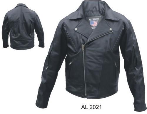 Mens Buffalo Leather Motorcycle Biker Jacket No Belt Allstate Leather
