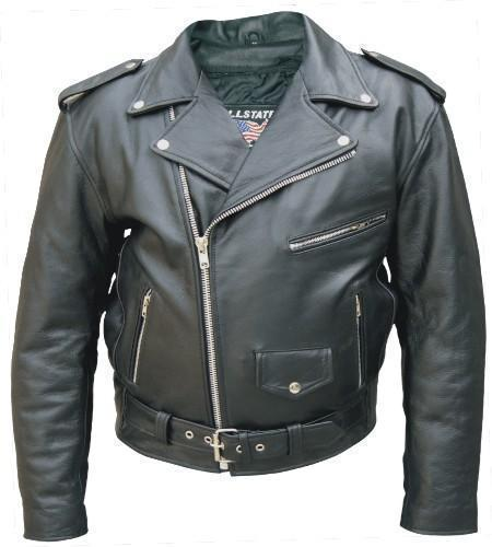 New Men's Cowhide Leather Motorcycle Biker Jacket 40-68 Allstate Leather
