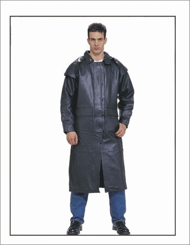 Mens Leather Duster Motorcycle Jacket Long Trench Coat USA Dream Apparel