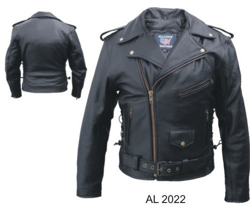 Mens Buffalo Leather Motorcycle Jacket Zip Out Liner Allstate Leather