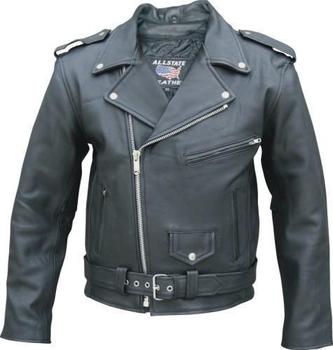 Mens Naked Leather Motorcycle Biker Jacket Full Belt Zip Out Liner Allstate Leather