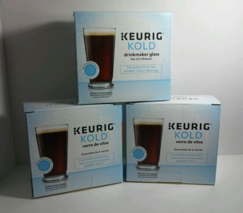 Keurig Kold Drinkmaker Glass for Kold Beverage (Set of 2 per box) Lot of 3 NIB