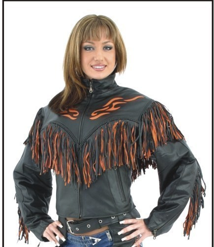 Womens Leather Flame Biker Motorcycle Jacket with Fringe XS-4X Utex