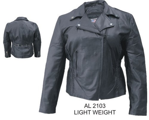 Womens Ladies Leather Motorcycle Biker Jacket Back Stud Allstate Leather