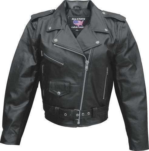 Womens Ladies Black Cowhide Leather Motorcycle Biker Jacket  Allstate Leather