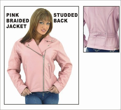 Ladies Leather Pink Studded Biker Motorcycle Jacket Allstate Leather