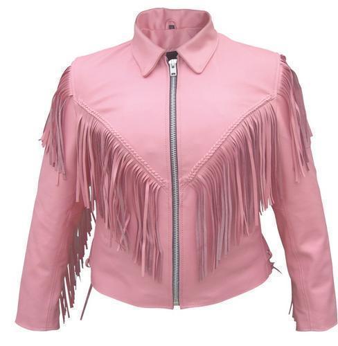 Womens Ladies Pink Fringe Leather Motorcycle Biker Jacket Allstate Leather