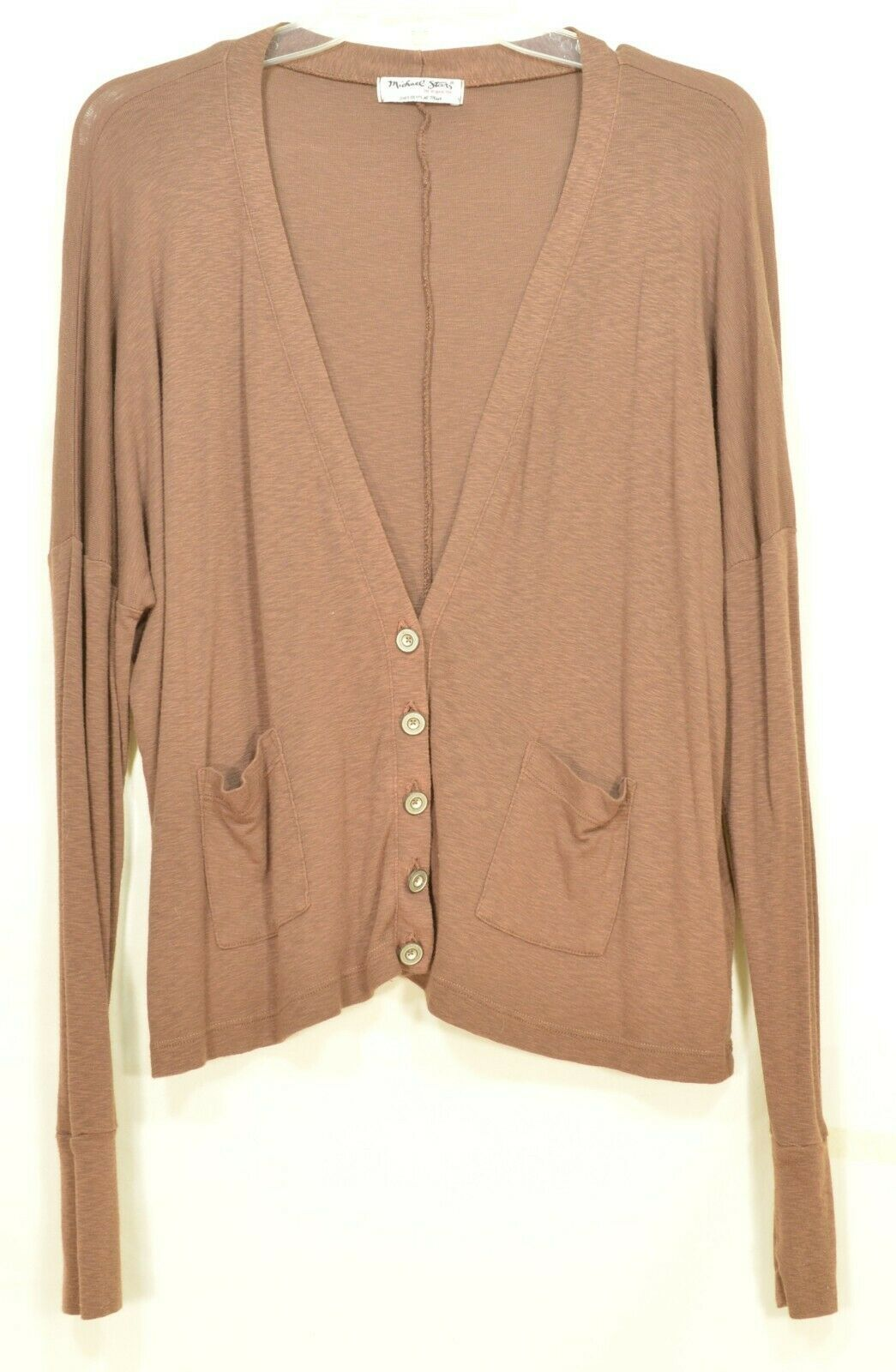 Michael Stars sweater OSFM brown cardigan dropped shoulders lightweight fall USA image 4