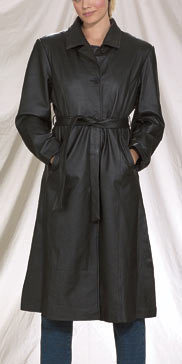 New Ladies Womens Leather Long Trench Coat Jacket S-3X Dream Apparel