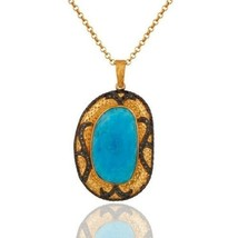 Genuine Diamond Turquoise Birthstone Gold Plated Sterling Silver Pendant... - $130.68