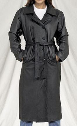 Ladies Womens Leather Long Trench Coat Western Jacket Dream Apparel