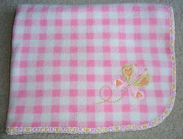 Carters Pink White Checked Gingham Butterfly Baby Girl Blanket Fleece - $19.55