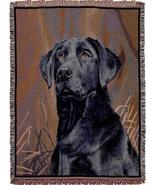 65x50 BLACK LABRADOR Dog Tapestry Afghan Throw Blanket  - $48.50