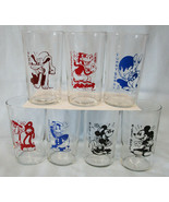 """Walt Disney 1936 Small Image Dairy Glasses 4 1/4"""" tall Glass Complete Se... - $208.78"""