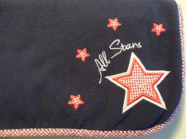 Lambs & Ivy Blue Red Plaid All Stars Blanket Lovey Baby Star Plush Soft - $19.55