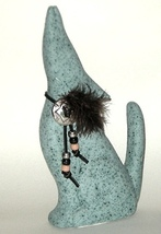 Hand Painted Blue Coyote w Concho Feather Beads - $10.00