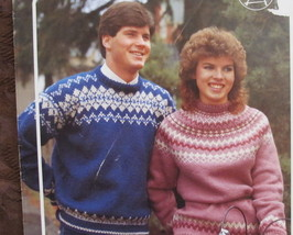 Vintage Bouquet Islander Knitting Patterns Adults Fair Isle Pullover Sweaters - $4.95