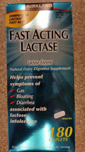 KIRKLAND FAST ACTING LACTASE FOR DAIRY LACTOSE INTOLERANCE 180 CAPLETS NEW - $20.77