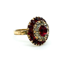 Vintage German Art Deco 14k Gold Filled Ruby & Diamond Rhinestone Ring S... - €55,09 EUR