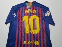 "LIONEL MESSI / AUTOGRAPHED ""FUTBOL CLUB BARCELONA"" PRO STYLE SOCCER JERSEY / COA"