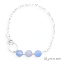 Handmade Sterling Silver Chain Bracelet with Faceted Blue Quartz  - $37.99