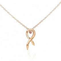 0.04Cts Pink Diamond Drop Pendant Necklace , Set in 14K  Rose Gold. - $485.10