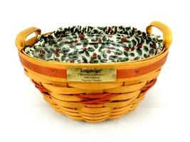 Longaberger Popcorn Basket w/Liner & Insert, Handles, 1999 Christmas Col... - $39.15