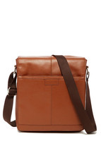 $210 Perry Ellis North/South Leather Crossbody Bag, LUGGAGE. - $74.24