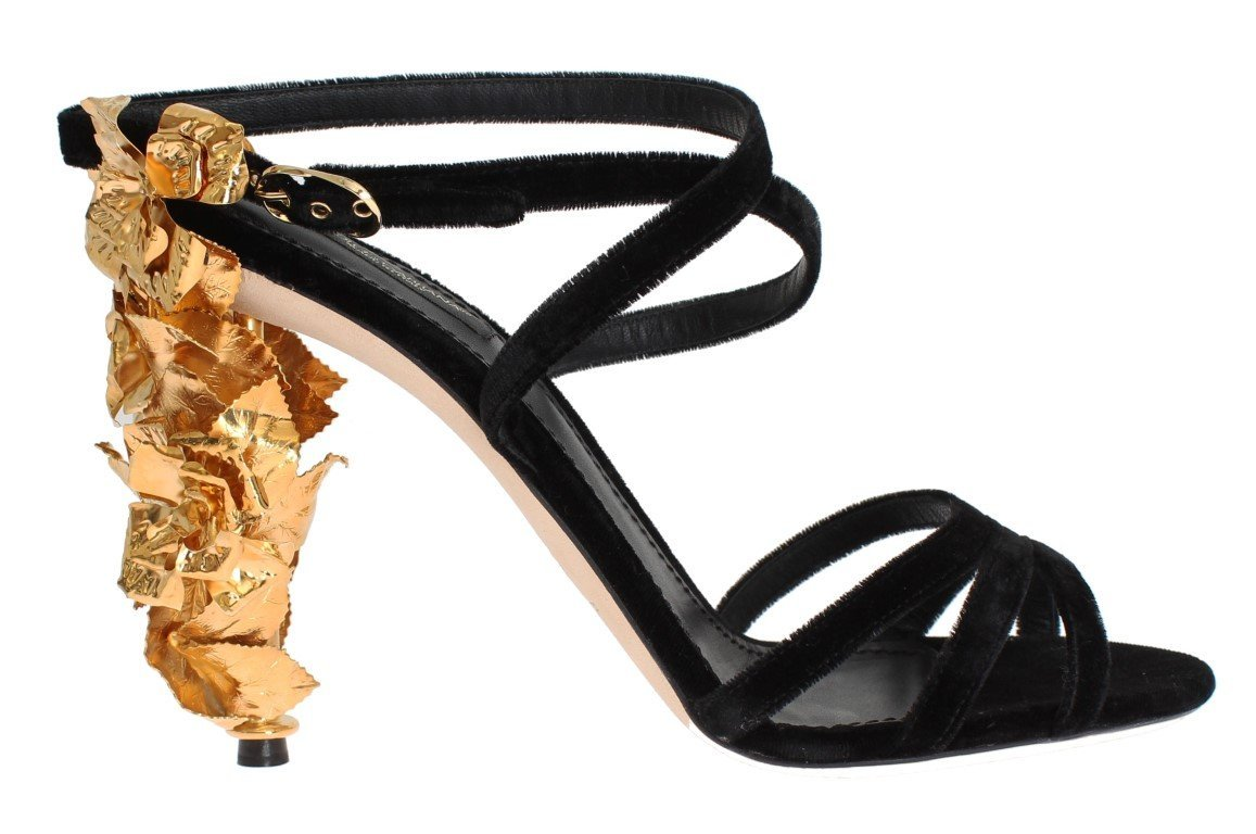 Dolce & Gabbana Black Velvet Gold Leaf Sandal Shoes