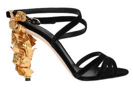 Dolce & Gabbana Black Velvet Gold Leaf Sandal Shoes - $1,769.16