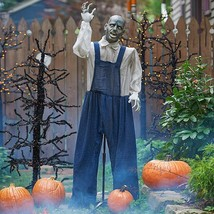 Life Size Animated Man Zombie Prop Outdoor Halloween Graveyard Yard Deco... - $98.95