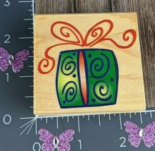 """Rubber Stampede Rubber Stamp Festive Gift Wood Mount Holiday Christmas 2.5"""" - $2.96"""