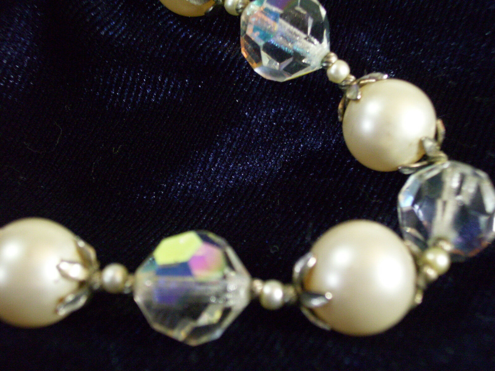VENDOME Faceted CRYSTAL Bead n PEARL Choker Necklace Aurora Borealis AB Vintage