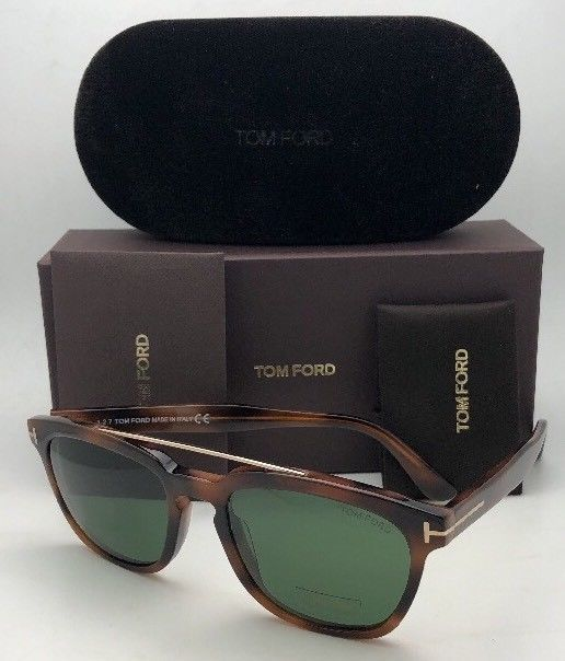 New TOM FORD Sunglasses HOLT TF 516 53N 54-19 145 Tortoise & Gold w/Green Lenses image 12