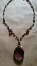 Art Deco Signed Czech Amethyst Glass & Brass Necklace - $54.44
